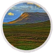 Round Beach Towel featuring the photograph Horse And Sky by Scott Mahon