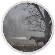 Round Beach Towel featuring the photograph Horse And Tree by Sumoflam Photography