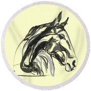 horse - Apple digital Round Beach Towel