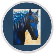 Horse Blue Boy Round Beach Towel