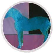 Horse, Blue On Lavender Round Beach Towel