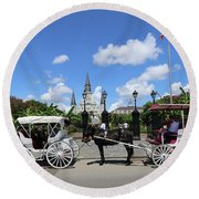 Round Beach Towel featuring the photograph Horse Carriages by Steven Spak