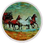 Horse Chariot Round Beach Towel by Khalid Saeed