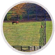 Horse Country # 2 Round Beach Towel