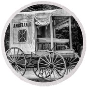 Horse Drawn Ambulance  Round Beach Towel