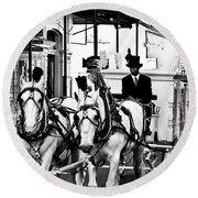 Horse Drawn Funeral Carriage Round Beach Towel