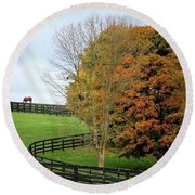 Horse Farm Country In The Fall Round Beach Towel