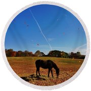 Horse Farm In The Fall Round Beach Towel by Ed Sweeney