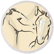 Horse-foals-together 6 Round Beach Towel