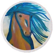 Horse Freedom Round Beach Towel