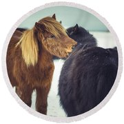 Horse Friends Forever Round Beach Towel
