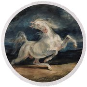 Horse Frightened By Lightning  Round Beach Towel