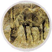 Horse Grazing On Pasture 2 Round Beach Towel