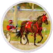 Horse, Harness And Jockey Round Beach Towel by Les Palenik