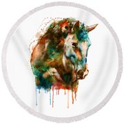 Horse Head Watercolor Round Beach Towel