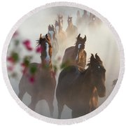 Horse Herd Coming Home Round Beach Towel