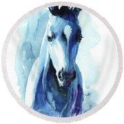 Horse In Blue Round Beach Towel