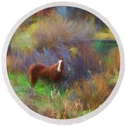 Horse Of Many Colors Round Beach Towel