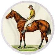 Horse Jockey Round Beach Towel