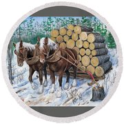 Horse Log Team Round Beach Towel