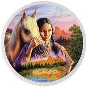 Horse Maiden Round Beach Towel