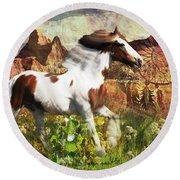 Horse Medicine 2015 Round Beach Towel