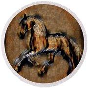 Horse Mosaic Round Beach Towel