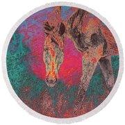 Horse Multi Color Round Beach Towel