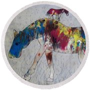 Horse Of A Different Color Round Beach Towel