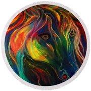 Horse Of Hope Round Beach Towel