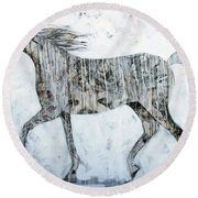 Horse Paint Round Beach Towel