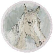 Horse Portrait-farm Animals Round Beach Towel