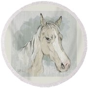 Horse Portrait-farm Animals Round Beach Towel