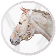 Round Beach Towel featuring the painting Horse Portrait I by Elizabeth Lock