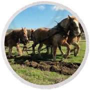 Round Beach Towel featuring the photograph Horse Power by Jeff Swan