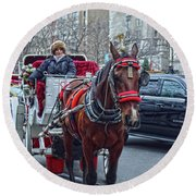 Round Beach Towel featuring the photograph Horse Power by Sandy Moulder