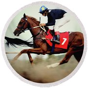 Horse Race - Motion Blurred Art Photography Round Beach Towel