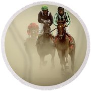 Horse Racing In Dust Round Beach Towel
