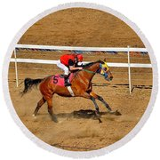 Horse Racing Round Beach Towel