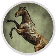 Horse Rearing Up On Dust Background Round Beach Towel