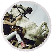 Horse Rearing With Girl Round Beach Towel
