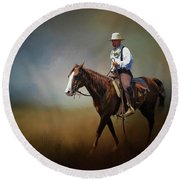 Round Beach Towel featuring the photograph Horse Ride At The End Of Day by David and Carol Kelly