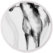 Horse Sketch Round Beach Towel by Frances Marino