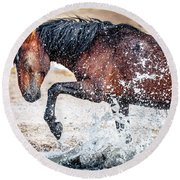 Horse Splash Round Beach Towel