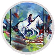Horse Three II Round Beach Towel