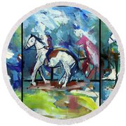 Round Beach Towel featuring the painting Horse Three by John Jr Gholson