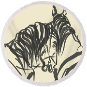 Horse - Together 9 Round Beach Towel