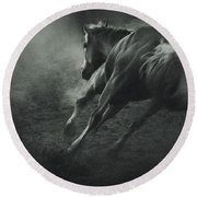 Horse Trotting In Morning Fog Round Beach Towel