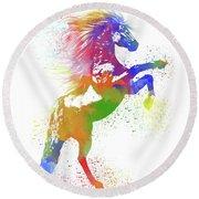 Horse Watercolor 1 Round Beach Towel