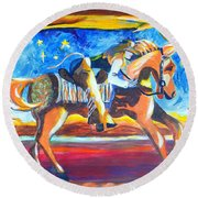 Horse Whisperer Round Beach Towel